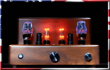 Very old restored vacuum tube amplifier turned on - tubes are glowing brightly..